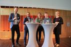 v.r.n.l.: Hörnmeyer, Bockshecker, van Dornick, Bernheine, Stefanie Frank (komba gewerkschaft nrw, Moderation)