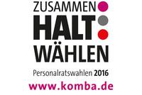 Gemeinsames Logo von komba, vbba und GdS zu den PR-Wahlen in den Jobcentern 2016 (Design: @ dbb)