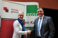 Ines Hansen, Programmbereichsleiterin Personalmanagement KGSt, und Andreas Hemsing, Landesvorsitzender komba gewerkschaft nrw